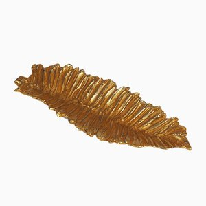 Gilded Bronze Leaf Dish from Stephane Galerneau, 1980s