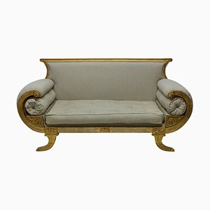 Antique English Regency Style Gilded Wood Sofa