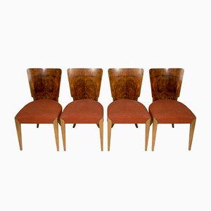 Chaises de Salle à Manger H-214 Art Déco par Jindřich Halabala pour UP Závody, 1950s, Set de 4