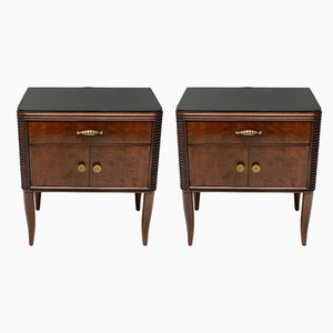 Italian Mahogany, Glass, and Brass Nightstands by Paolo Buffa, 1948, Set of 2