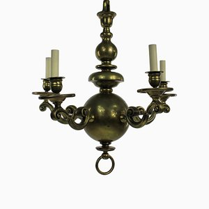 Antique Dutch Brass 5-Arm Chandelier, 1840s