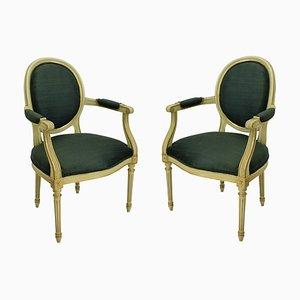 Butacas francesas estilo Louis XV vintage doradas, años 50. Juego de 2