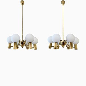 Brass and Glass Globes Chandeliers by Hans-Agne Jakobsson, 1950s, Set of 2