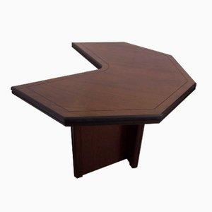 Sechseckiger Schreibtisch aus Mahagonifurnier, 1970er