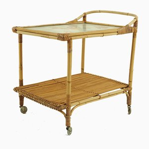 Rattan Tea Trolley with a Ceramic top, 1950s