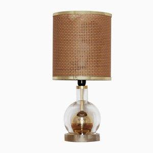 Tischlampe mit Lampenschirm aus Korbgeflecht, 1970er