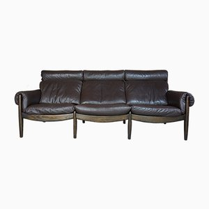 Rosewood and Leather Sofa from Durlet, 1960s
