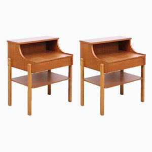 Mid-Century Swedish Teak Veneer Nightstands by Carlström & Co. for CS Mobelfabrik, Set of 2