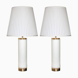 Scandinavian Opaline Glass and Brass Table Lamps from Bergboms, 1960s, Set of 2