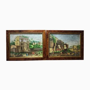 Antique Watercolor Landscapes of Rome by Onorato Carlandi, Set of 2