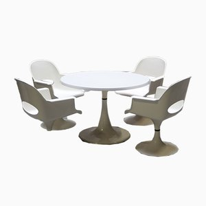 Space Age Tulip Base Dining Table & Chairs Set from Kurz, 1970s