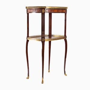 Antique Napoleon III Style Green Marble and Rosewood Side Table