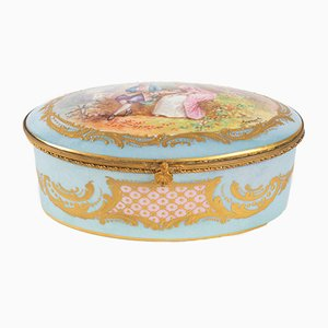 19th Century Porcelain and Brass Box
