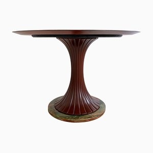 Italian Teak and Green Onyx Dining Table from Dassi Mobili Moderni, 1950s
