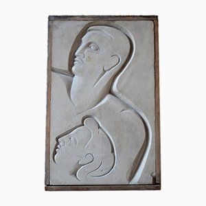 Bas-Relief Moderniste en Plâtre et Bois, 1940s