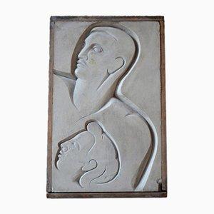 Modernes Relief aus Gips & Holz, 1940er