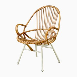 Mid-Century Rattan Lounge Chair, 1950s