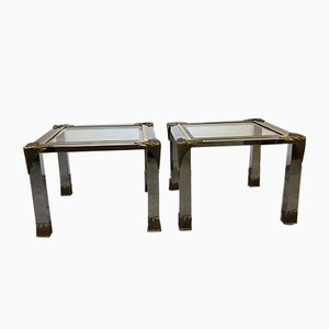 Chrome and Brass Side Tables, 1980s, Set of 2