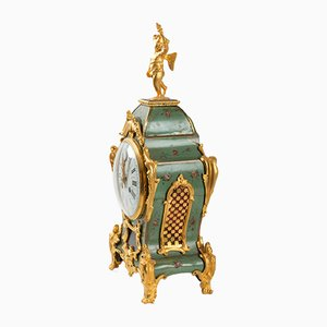 Antique Painted Roses and Golden Bronze Clock