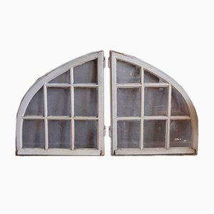 Industrial White Wooden Windows, 1920s, Set of 2