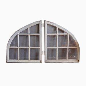 Industrielle Fenster mit weißen Holzrahmen, 1920er, 2er Set
