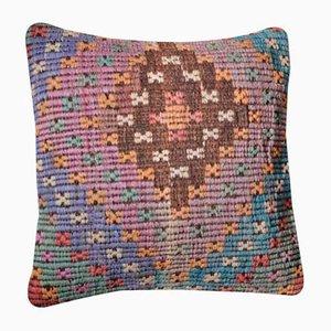 Mehrfarbiger Boho Kelim Kissenbezug aus bestickter Wolle von Zencef Contemporary
