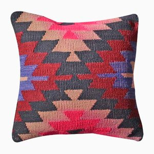 Pink & Black Eclectic Kilim Cushion Cover by Zencef Contemporary