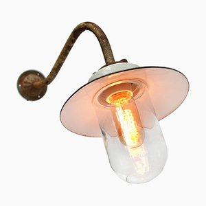 Vintage Industrial Porcelain, Glass, and Cast Iron Sconce, 1950s
