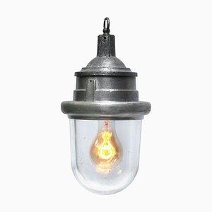 Industrielle Vintage Deckenlampe aus silbergrauem Aluminium & Glas, 1950er