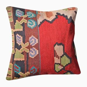 Brown & Red Floral Kilim Pillow Cover by Zencef Contemporary