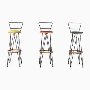 Bamboo and Steel Stools, 1960s, Set of 3