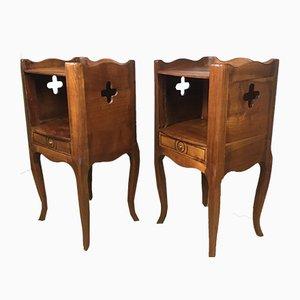 Antike Nachttische aus Kirschholz, 1920er, 2er Set
