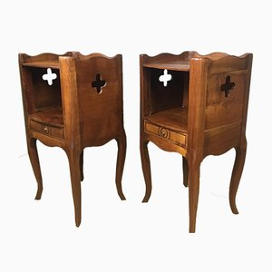 Antique Cherry Wood Nightstands, 1920s, Set of 2