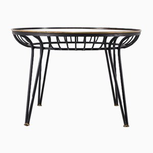 Mid-Century Steel and Frosted Glass Coffee Table