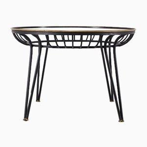 Tavolino da caffè Mid-Century in acciaio e vetro satinato