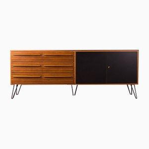 Sideboard aus Nussholzfurnier & schwarzem Resopal im skandinavischen Stil, 1950er