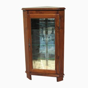 Vintage Walnut and Glass Corner Cabinet, 1940s