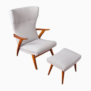Beech Lounge Chair and Stool Set, 1950s