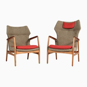 Danish Oak and Teak Karen and Edith Lounge Chairs by Aksel Bender Madsen for Bovenkamp, 1960s, Set of 2