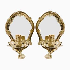 Apliques italianos de espejo, años 40. Juego de 2
