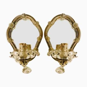 Italian Mirrored Sconces, 1940s, Set of 2