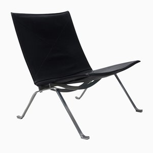 Black Leather PK22 Lounge Chair by Poul Kjærholm for Fritz Hansen, 1980s