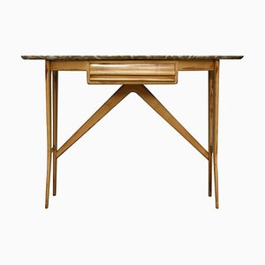 Mid-Century Italian Birch, Marble, and Brass Console Table, 1950s