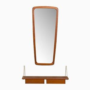 Espejo danés de teca con consola, años 60