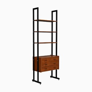 Mid-Century Italian Teak and Brass Wall Unit, 1950s
