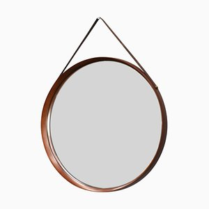 Italian Teak, Leather, and Brass Mirror, 1950s