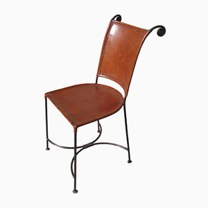 Wrought Iron and Leather Side Chair, 1980s