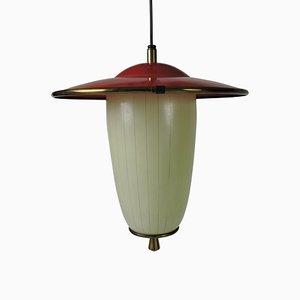 Mid-Century Deckenlampe aus Glas, Metall & Messing in Weiß & Rot