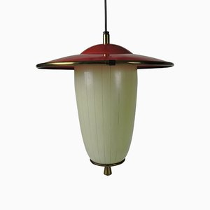 Mid-Century White and Red Glass, Metal, and Brass Ceiling Lamp
