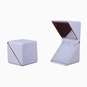 Lámparas de mesa Dado blancas de Cesare Casati para Martinelli Luce, años 70. Juego de 2
